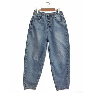 Zara Ultra High Rise Slouchy Balloon Jeans 8 Blue